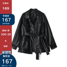 Designer Plus 皮衣外套to15机车服to复古宽松黑色PU皮上衣
