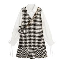 VEGtp CHANld裙套装女2020秋冬新式长袖衬衫+毛呢背心鱼尾裙