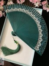 日式蕾tp日本中国风ld柄折娟布女扇樱花随身(小)夏跳舞蹈扇