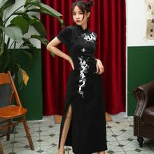 中国风tp轻少女日常ld新复古黑色性感龙纹刺绣长式旗袍酷