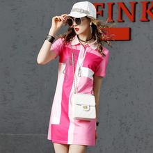 芬克鲨tp新式拼色短ld裙女2020夏季时尚烫钻Polo裙女欧货潮牌