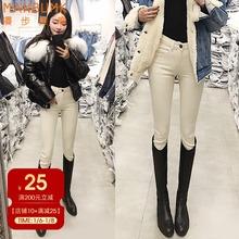 米白色tp腰加绒牛仔re020新式秋冬显高显瘦百搭(小)脚铅笔靴裤子