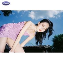 EhKtq2021春kw性感露背绑带短裙子复古紫色格子吊带连衣裙女