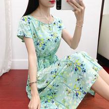 新式棉tq连衣裙女夏an式短袖显�C时尚碎花大摆裙的造棉沙滩裙