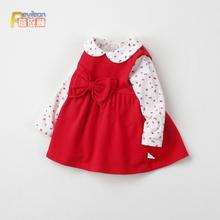 0-1tr3岁(小)童女di装红色背带连衣裙两件套装洋气公主婴儿衣服2