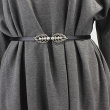 简约百tr女士细腰带ad尚韩款装饰裙带珍珠对扣配连衣裙子腰链