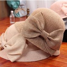 蝴蝶结渔tr帽子女春夏gr太阳帽韩款百搭时尚可折叠遮阳帽礼帽