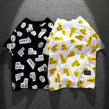 欧美潮tr街头个性涂ks满身印花半袖嘻哈宽松纯棉男生短袖T恤