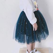 童装女tr夏星星半身hg20新式纱裙蓬蓬裙宝宝公主裙网纱短裙洋气