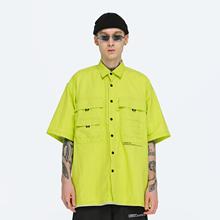 FPAtrVENGEkeE)夏季宽松印花短袖衬衫 工装嘻哈男国潮牌半袖休闲