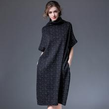 202tr春装新式宽ic高领针织连衣裙女装大码中长裙显瘦长裙子