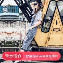 薄式破tr牛仔背带裤ic020新式宽松韩款七分bf大码原宿vintage