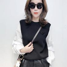 秋季2tr20新式韩es拼接泡泡袖显瘦百搭上衣气质修身太空棉卫衣
