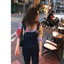 罗女士tr(小)老爹 复es背带裤可爱女2020春夏深蓝色牛仔连体长裤