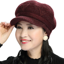 帽子女秋冬护耳妈妈帽鸭舌加绒保暖tr13织羊毛es中老年帽子
