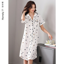 睡裙女tr衣裙子夏季el棉绸短袖夏天冰丝薄式衬衫开衫长式大码