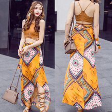 波西米tr长裙沙滩裙el0新式旅游海边泰国度假风连衣裙夏两件套装