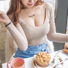 打底衫ts长袖T恤修fr显瘦夜店性感女装大码(小)衫低胸秋季上衣