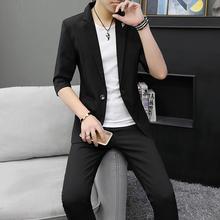 西服套ts夏薄式韩款bk分袖外套发型师休闲中袖一套
