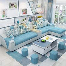 简约现ts布艺沙发(小)nl厅家具整装可拆洗转角三的位布沙发组合