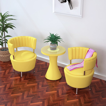 (小)沙发tt你简约阳台qy室沙发茶几组合三件套(小)户型皮艺休闲椅