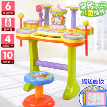 可充电tt转木马架子rh喷泉拍拍鼓带话筒益智男女孩玩具