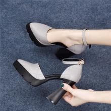 202tt新式夏季包sh台凉鞋女粗跟高跟鞋女春一字扣中空真皮单鞋