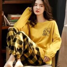 睡衣女长袖春秋韩版学生可