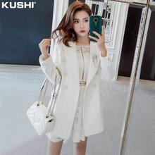 (小)香风tt套女春秋百xw短式2021年新式(小)个子炸街时尚白色西装