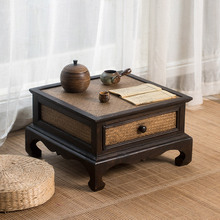 日式榻tt米桌子(小)茶gw禅意飘窗桌茶桌竹编中式矮桌茶台炕桌