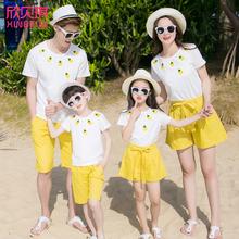 洋气亲tt夏装一家三xw母女母子春装2021新式潮网红炸街沙滩装