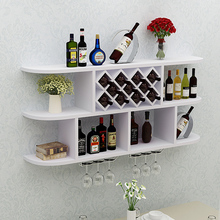 简约创tu红圆角吊柜bf壁装饰架墙上酒架简约现代实木格子
