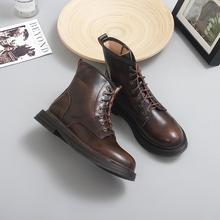 伯爵猫tu021新式lvns系带马丁靴女低跟学院短靴复古英伦风皮靴