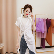 珠光缎tu短袖衬衣女hi1春夏新式收腰白衬衫开叉中长式不规则上衣
