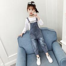 女童牛tu背带裤网红zi020新式宝宝女孩春洋气牛仔裤中大童裤子