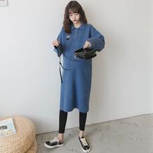 孕妇秋tu外套韩国时zi针织连衣裙2020休闲长式直筒裙毛衣春装