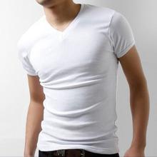 男式V领弹力纯棉短袖T恤