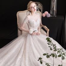 轻主婚tu礼服202es冬季新娘结婚拖尾森系显瘦简约一字肩齐地女