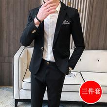西服套tu春秋季韩款lt尚2020新式外套休闲痞帅男(小)西装三件套