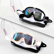 新式YtuRK高清防lt泳镜舒适男女大框泳镜平光电镀泳镜