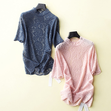 202tu新式蕾丝衫lt底衫女 含羊毛百搭针织短袖洋气性感上衣T薄