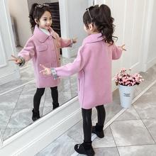 女童呢tu外套秋装2lt新式秋冬童装洋气(小)女孩中长式宝宝毛呢大衣