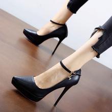 欧洲站tu感米色一字ha约防水台超高跟鞋尖头细跟秋新式单鞋女