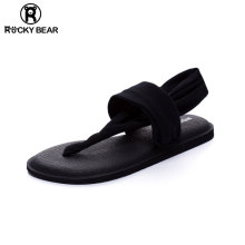 ROCtuY BEAio克熊瑜伽的字凉鞋女夏平底夹趾简约沙滩大码罗马鞋