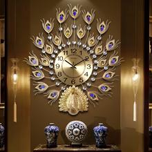 孔雀挂钟tu1厅欧式钟io钟家用静音挂表电子钟装饰挂表石英钟