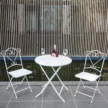户外塑木桌椅三件套咖tu7厅奶茶店io组合庭院白色铁艺休闲桌