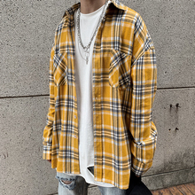 欧美高tufog风中is子衬衫oversize男女嘻哈宽松复古长袖衬衣