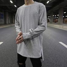 KANYtu1高街风前kv色百搭打底衫街头嘻哈层次内搭纯棉长袖T恤
