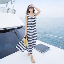 背心裙tu码沙滩裙条pi连衣裙海边度假裙长裙