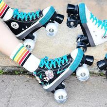 帆布旱tu鞋双排四轮no冰鞋时尚夜光轮滑冰鞋4个轮子的溜冰鞋
